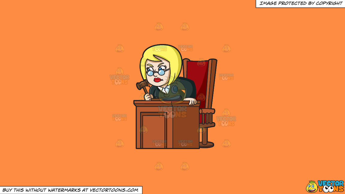 An Infuriated Female Judge On A Solid Mango Orange Ff8c42 Background thumbnail