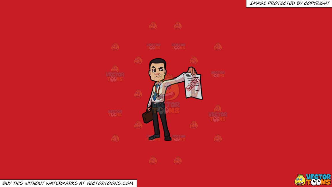 An Irritated Bill Collector On A Solid Fire Engine Red C81d25 Background thumbnail