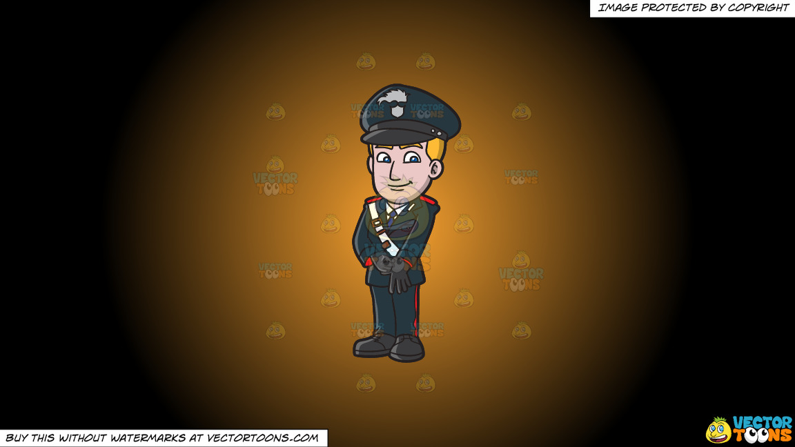 An Italian Carabinieri Constable On A Orange And Black Gradient Background thumbnail