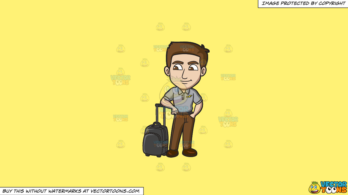 An Off Duty Male Flight Attendant On A Solid Sunny Yellow Fff275 Background thumbnail