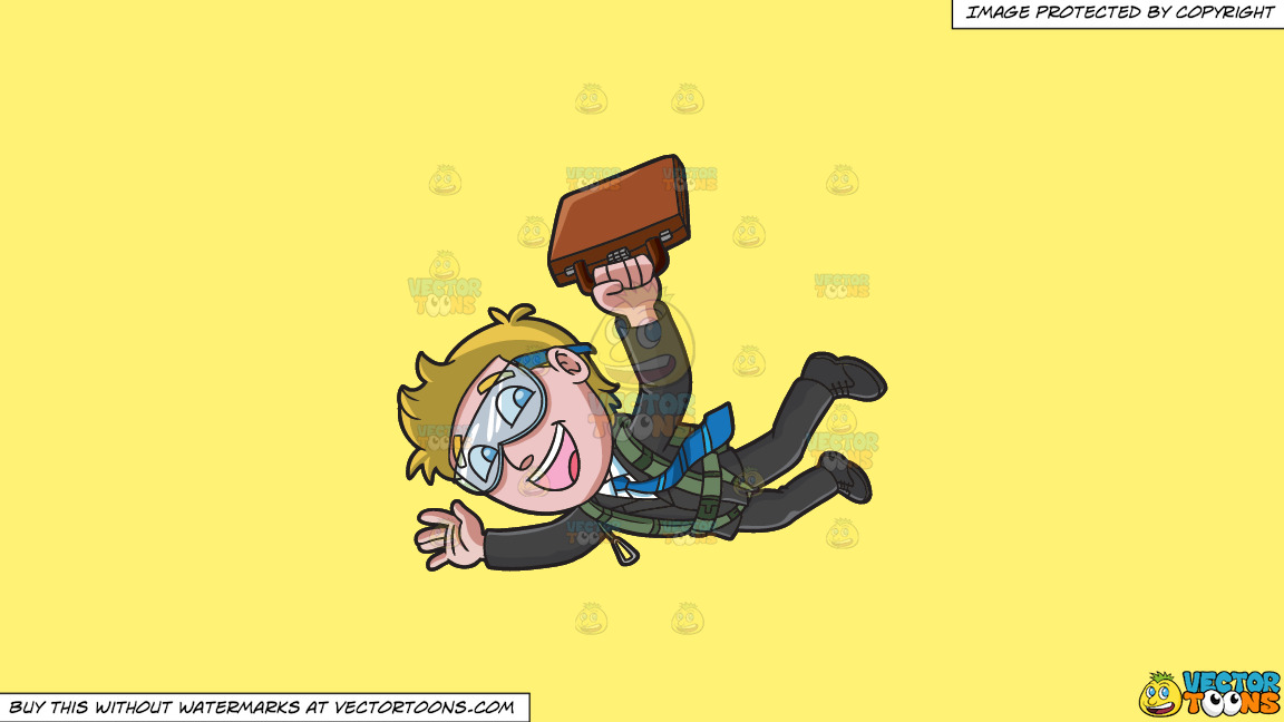 An Office Worker Skydives With His Briefcase On A Solid Sunny Yellow Fff275 Background thumbnail
