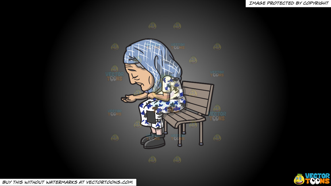 An Old Homeless Woman On A Grey And Black Gradient Background thumbnail