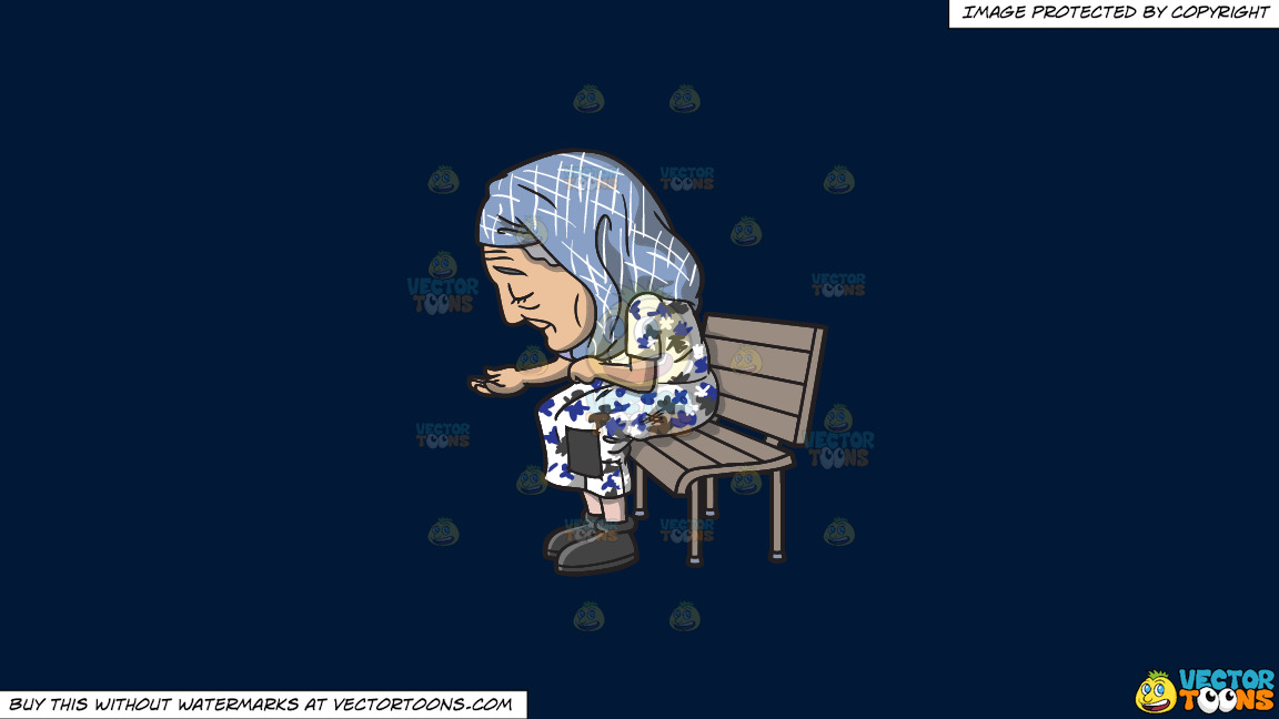 An Old Homeless Woman On A Solid Dark Blue 011936 Background thumbnail