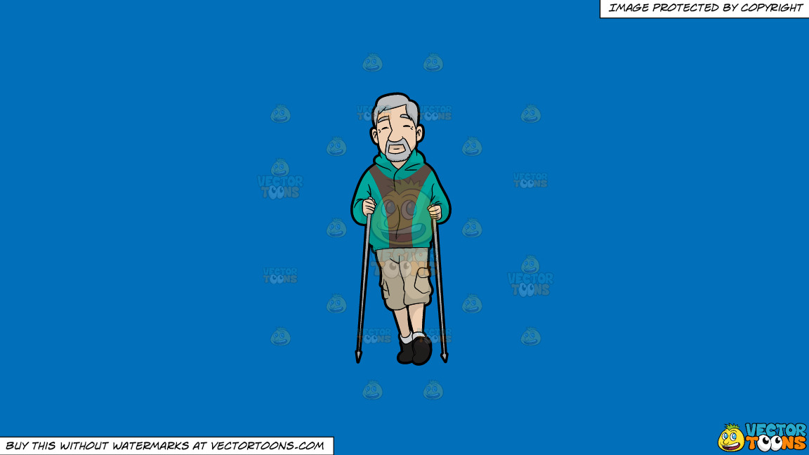 An Old Man Nordic Walking On A Solid Spanish Blue 016fb9 Background thumbnail