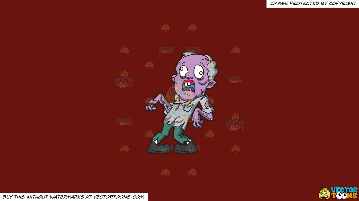 An Old Zombie With Dislocated Feet And Arms On A Solid Maroon 69140e Background thumbnail