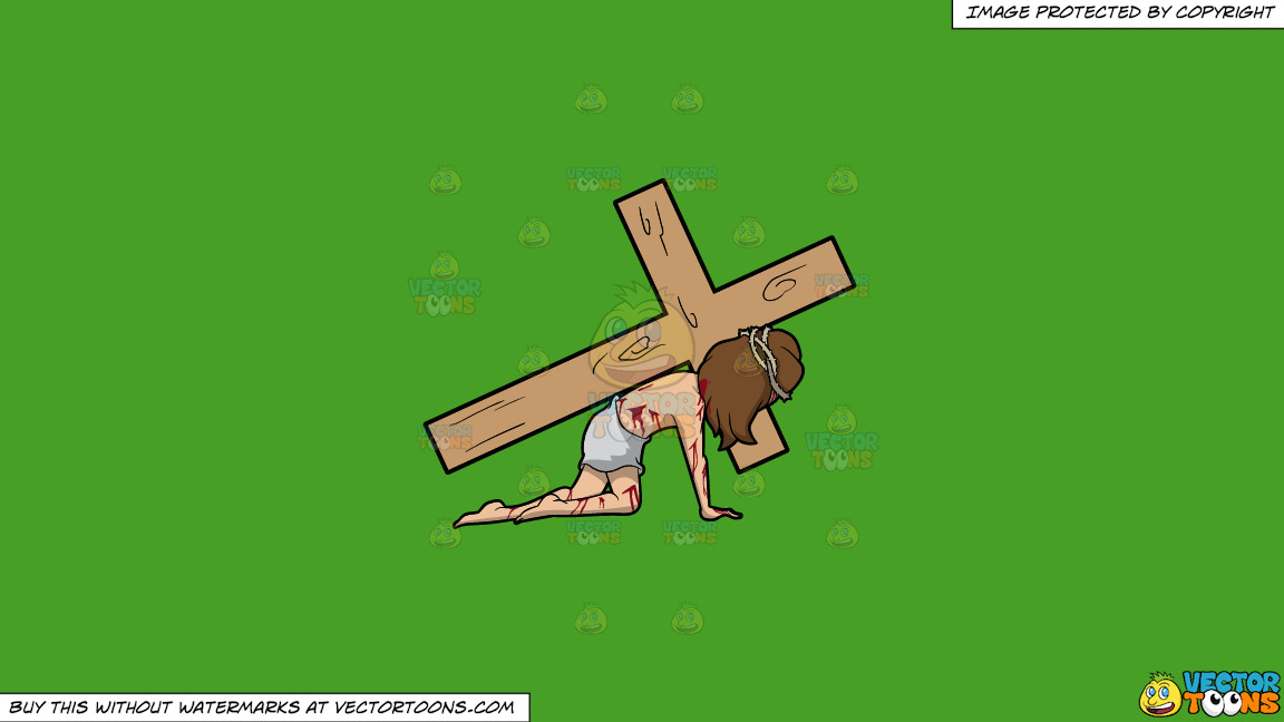 Christ Dragging A Cross On A Solid Kelly Green 47a025 Background thumbnail