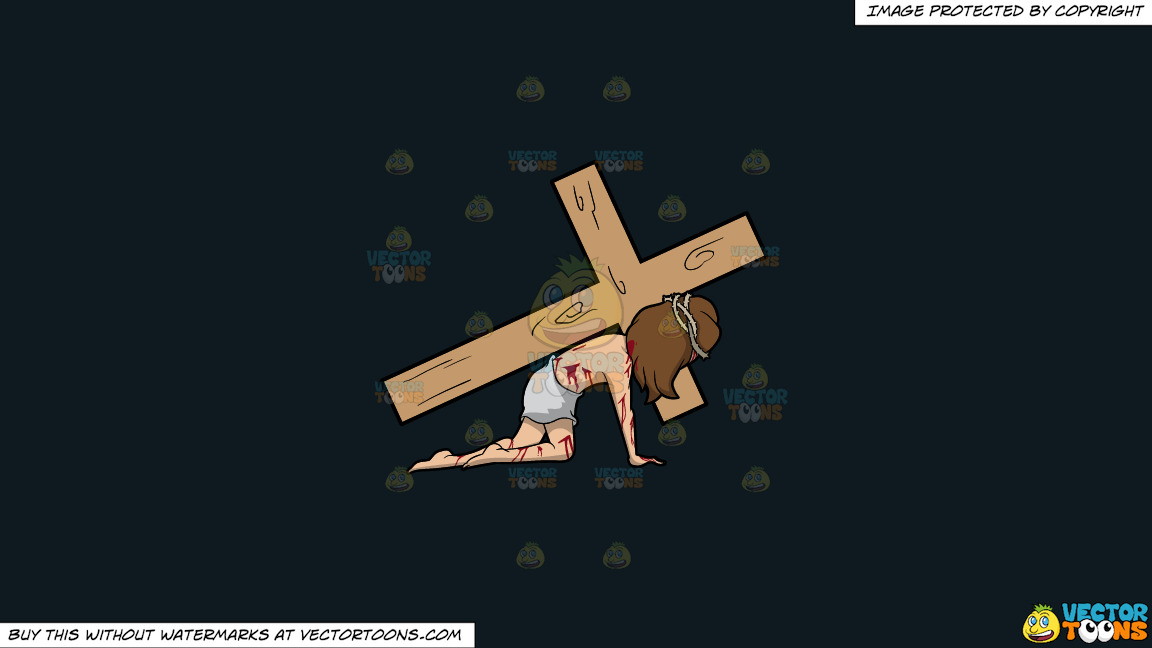 Christ Dragging A Cross On A Solid Off Black 0f1a20 Background thumbnail