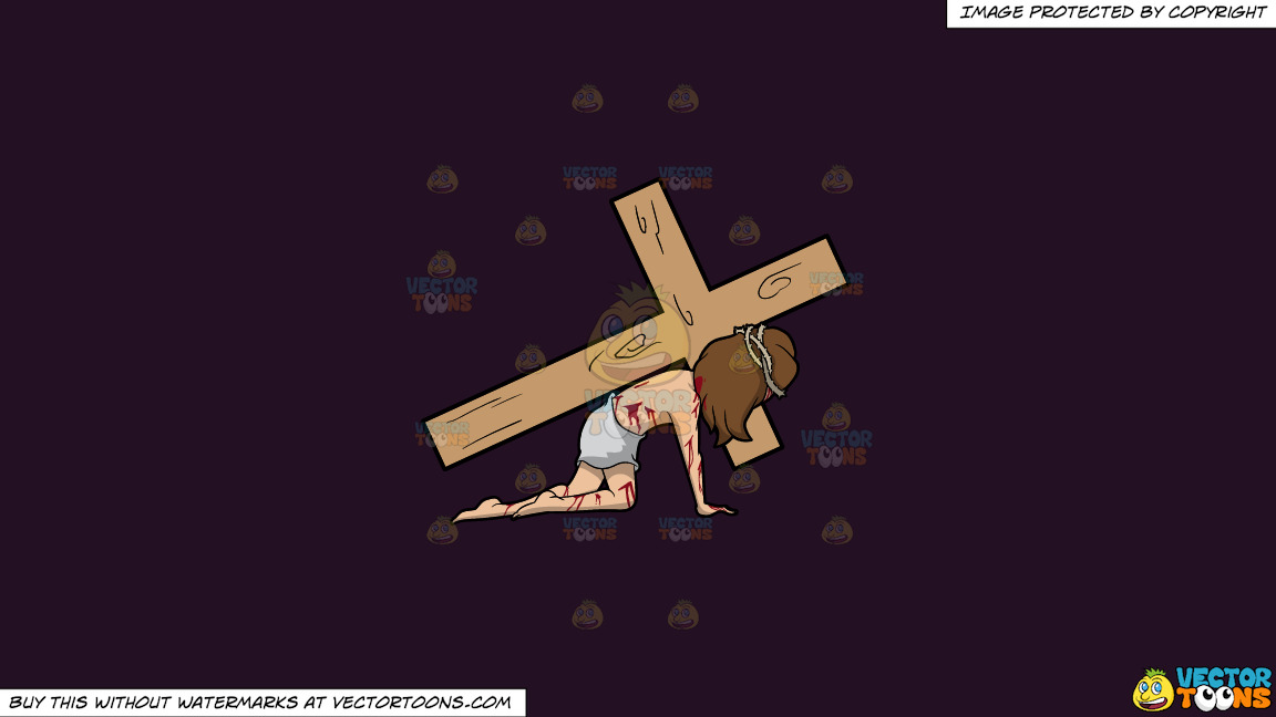 Christ Dragging A Cross On A Solid Purple Rasin 241023 Background thumbnail