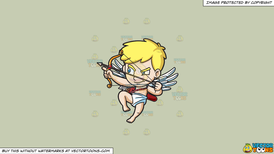 Cupid Aiming To Shoot An Arrow On A Solid Pale Silver C6ccb2 Background thumbnail