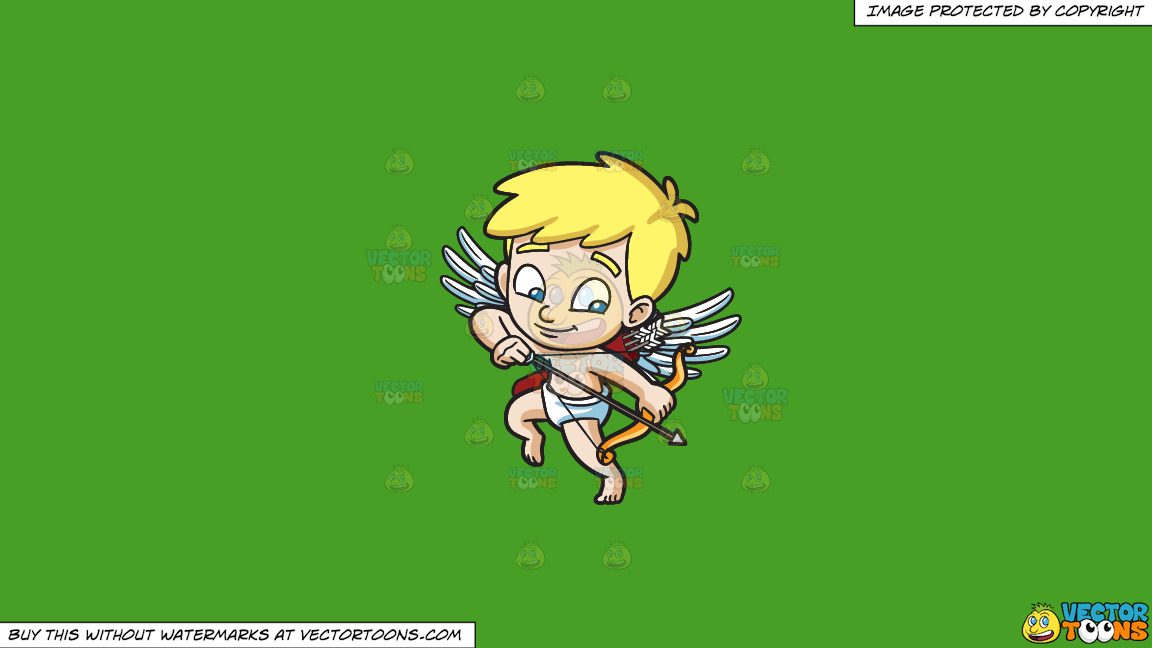Cupid Shooting Down An Arrow On A Solid Kelly Green 47a025 Background thumbnail