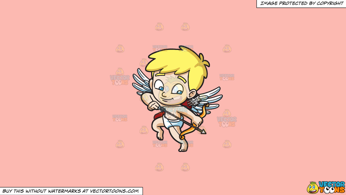 Cupid Shooting Down An Arrow On A Solid Melon Fcb9b2 Background thumbnail