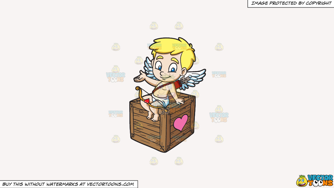 Cupid Sitting On A Love Box On A Solid White Smoke F7f4f3 Background thumbnail