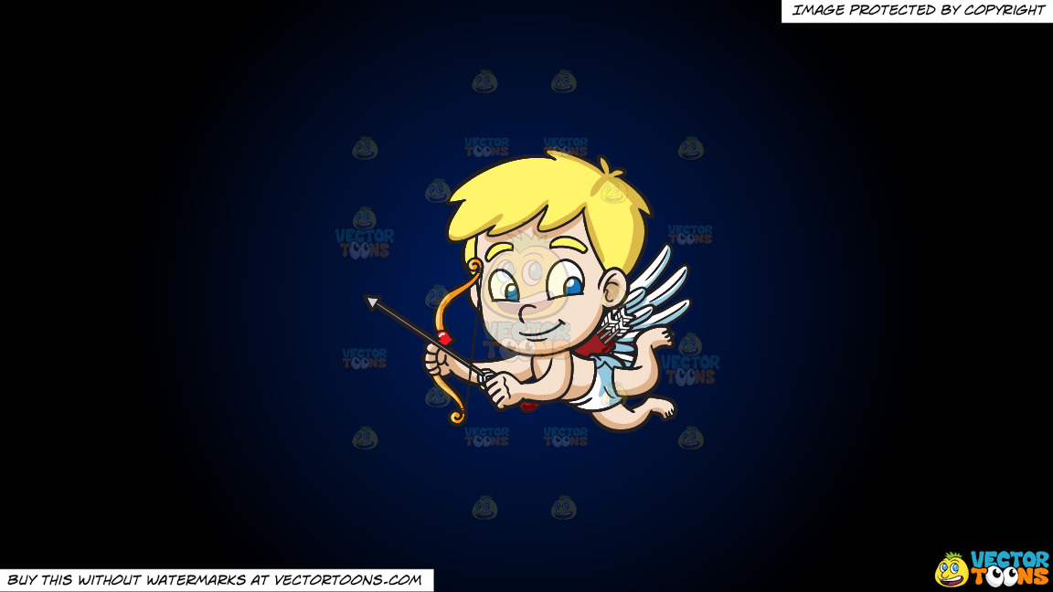 Cute Cupid Flying Around On A Dark Blue And Black Gradient Background thumbnail