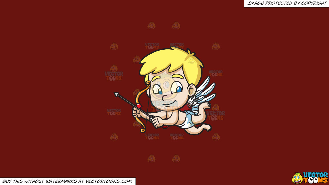 Cute Cupid Flying Around On A Solid Maroon 69140e Background thumbnail