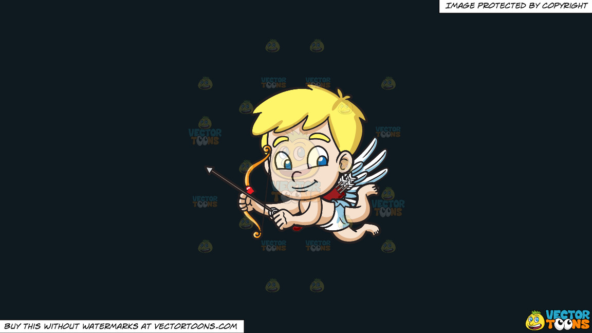 Cute Cupid Flying Around On A Solid Off Black 0f1a20 Background thumbnail