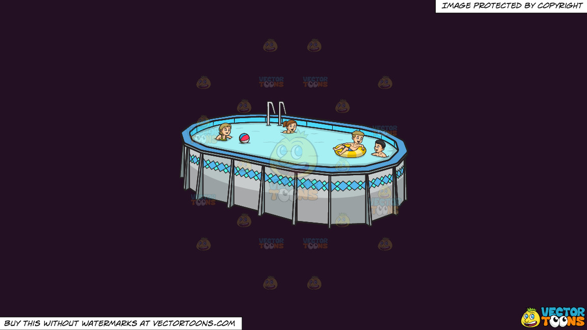 Four People Playing And Swimming In The Backyard On A Solid Purple Rasin 241023 Background thumbnail