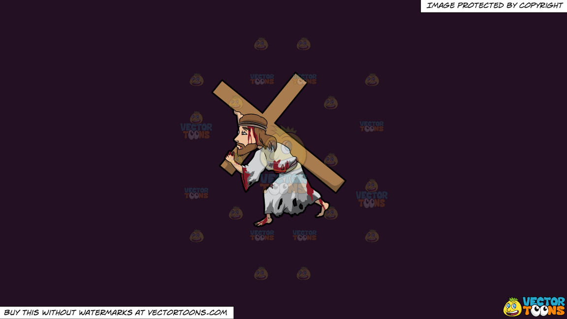 Jesus Carrying A Heavy Cross On A Solid Purple Rasin 241023 Background thumbnail