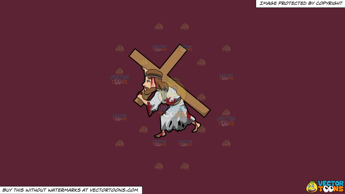 Jesus Carrying A Heavy Cross On A Solid Red Wine 5b2333 Background thumbnail