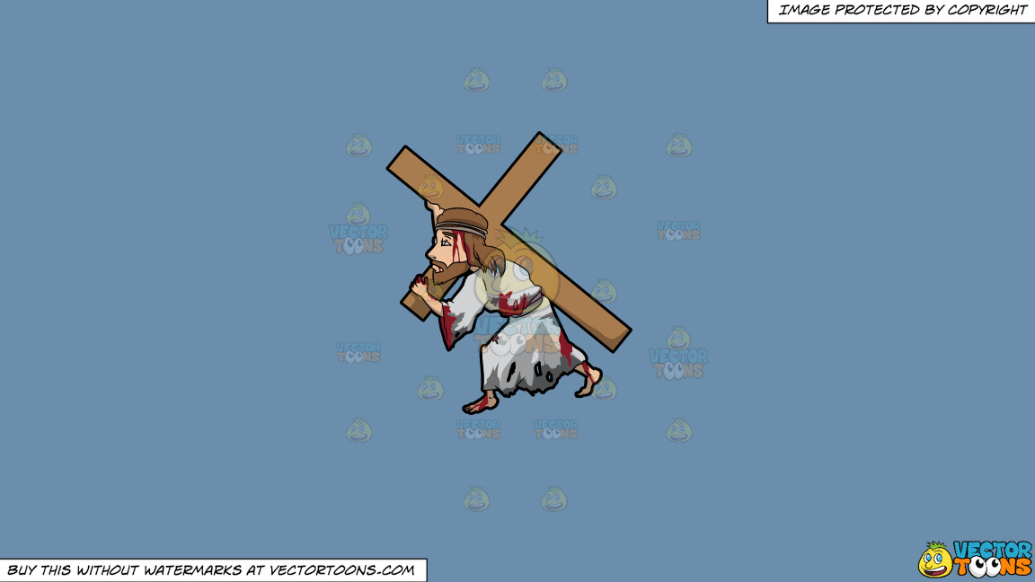 Jesus Carrying A Heavy Cross On A Solid Shadow Blue 6c8ead Background thumbnail