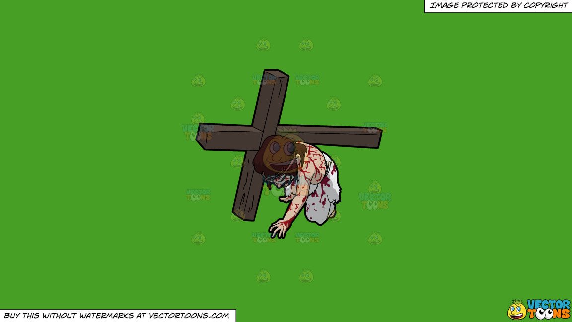Jesus Falling On His Knees While Carrying The Cross On A Solid Kelly Green 47a025 Background thumbnail