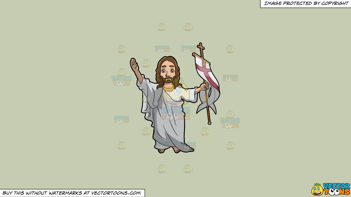 Resurrected Jesus Christ On A Solid Pale Silver C6ccb2 Background thumbnail