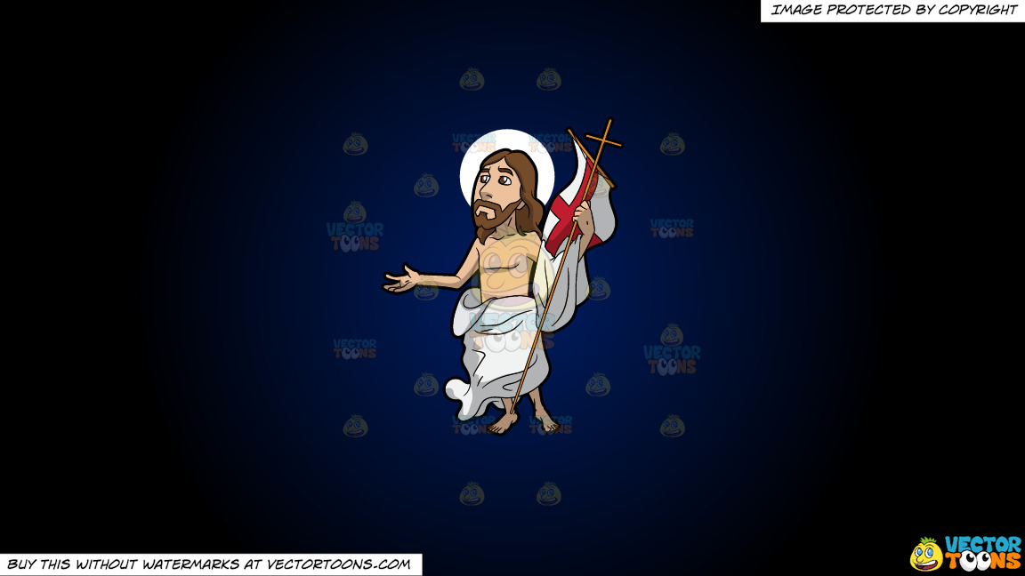 Resurrected Jesus On A Dark Blue And Black Gradient Background thumbnail