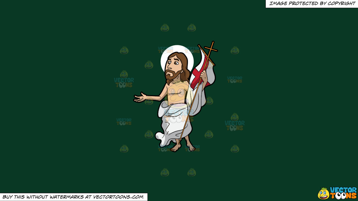 Resurrected Jesus On A Solid Dark Green 093824 Background thumbnail
