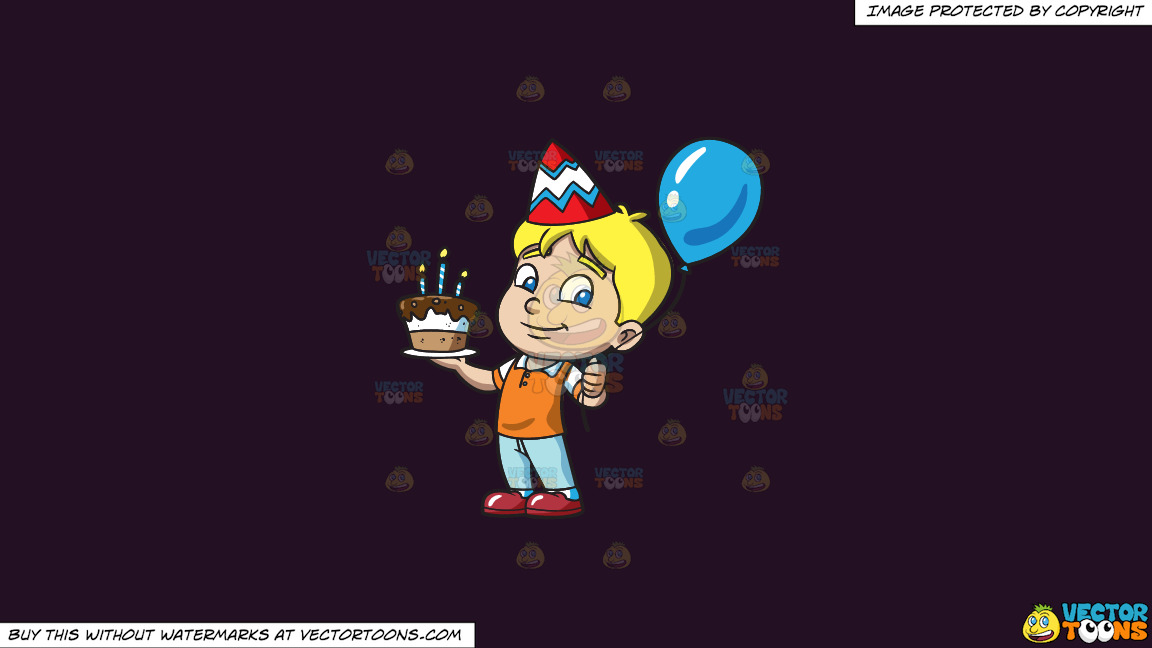 The Birthday Boy With His Cake On A Solid Purple Rasin 241023 Background thumbnail