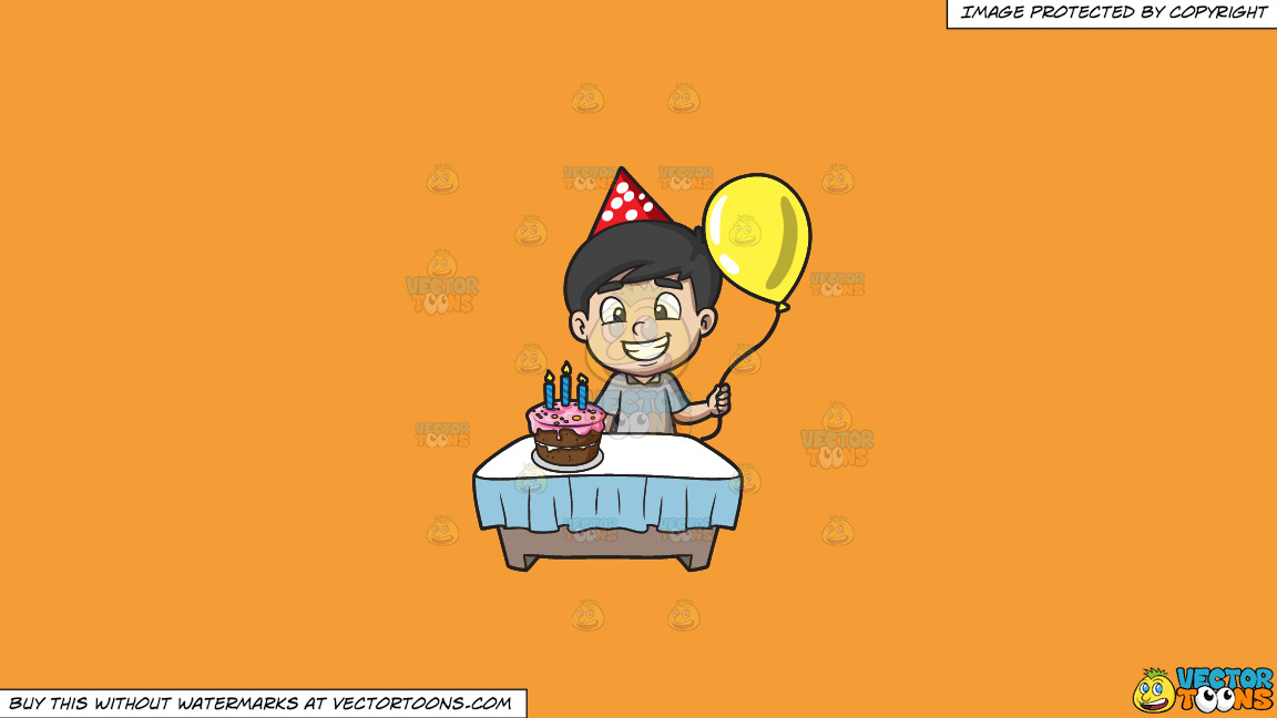 The Proud Birthday Boy On A Solid Deep Saffron Gold F49d37 Background thumbnail