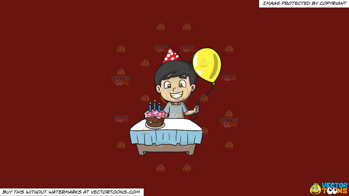 The Proud Birthday Boy On A Solid Maroon 69140e Background thumbnail