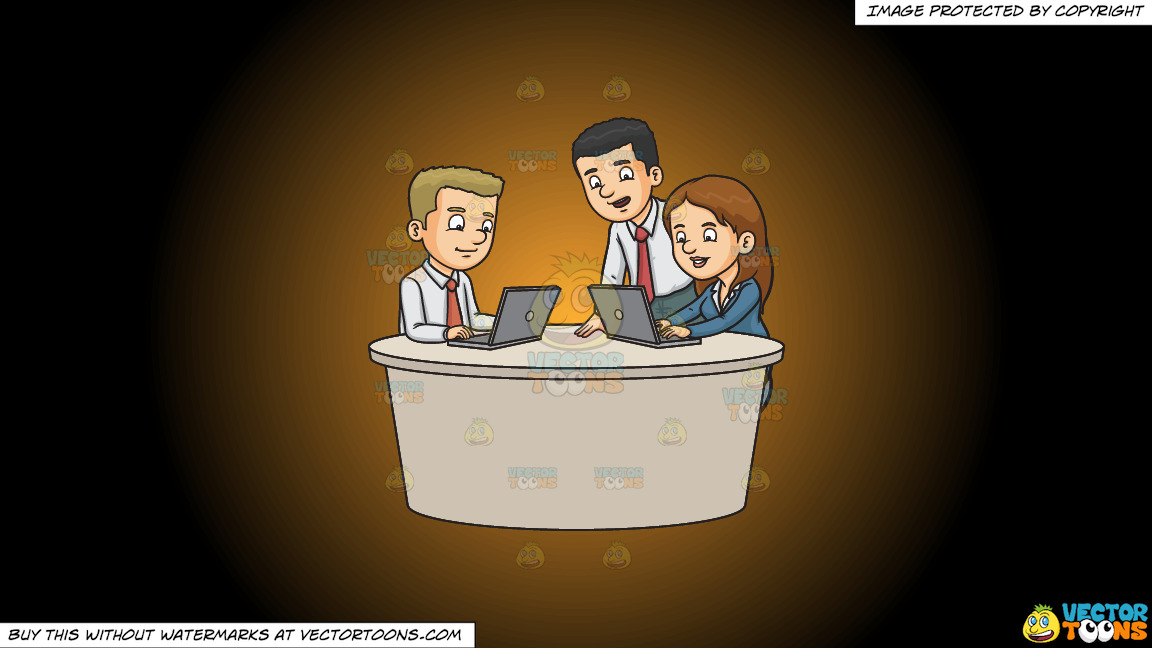 Three Work Colleagues Typing A Report On A Orange And Black Gradient Background thumbnail