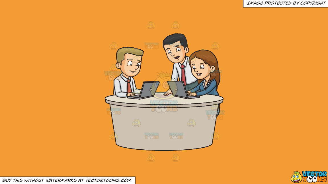 Three Work Colleagues Typing A Report On A Solid Deep Saffron Gold F49d37 Background thumbnail