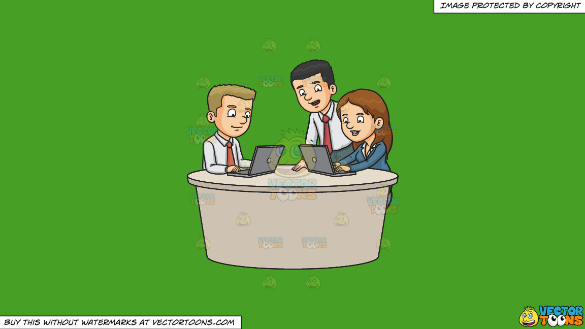 Three Work Colleagues Typing A Report On A Solid Kelly Green 47a025 Background thumbnail