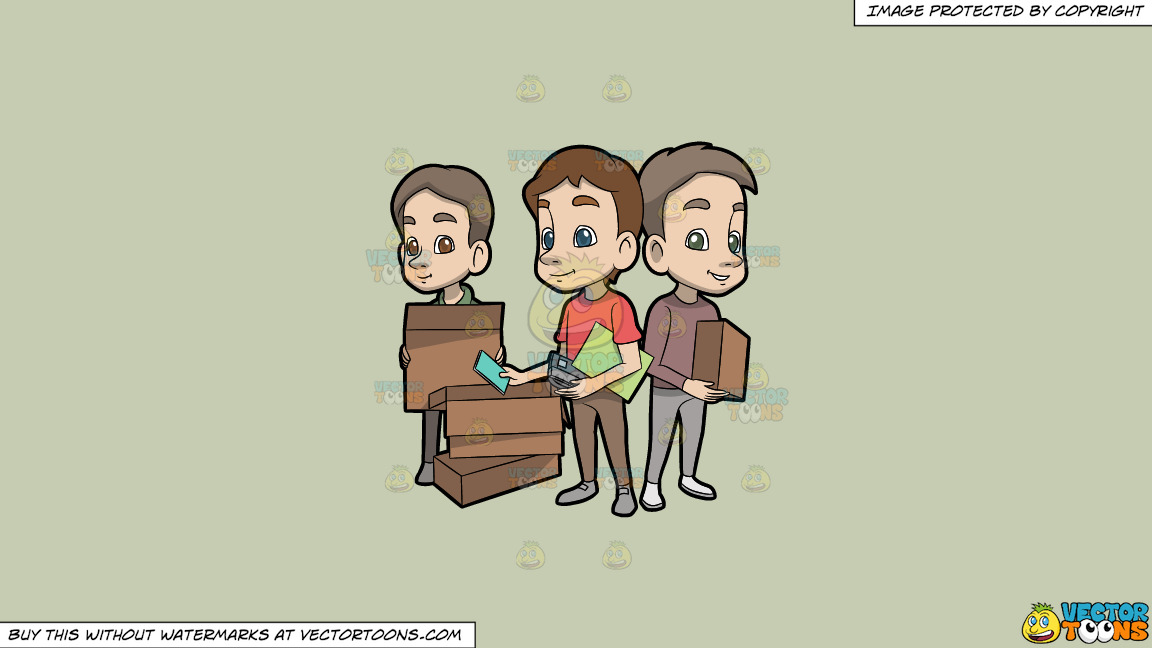 Three Young Men Packing Up Their Belongings On A Solid Pale Silver C6ccb2 Background thumbnail