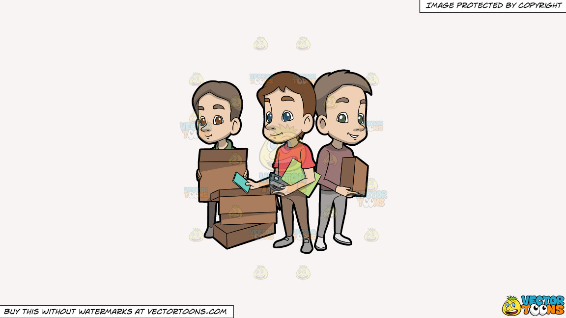 Three Young Men Packing Up Their Belongings On A Solid White Smoke F7f4f3 Background thumbnail