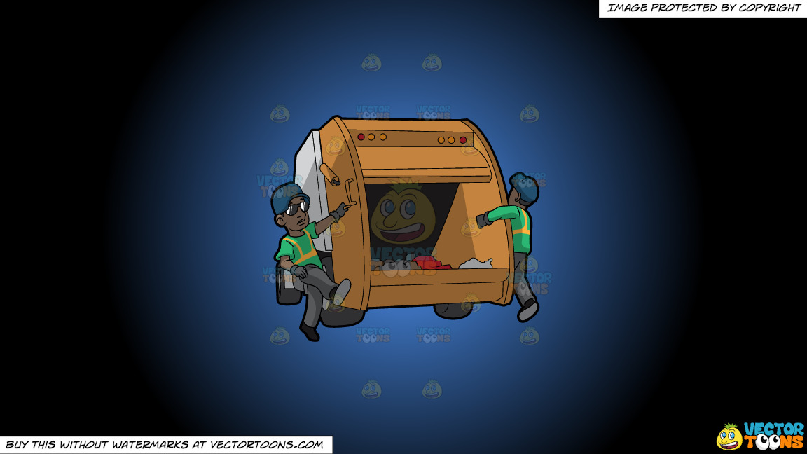 Two Black Male Sanitation Workers On The Back Of A Garbage Truck On A Blue And Black Gradient Background thumbnail