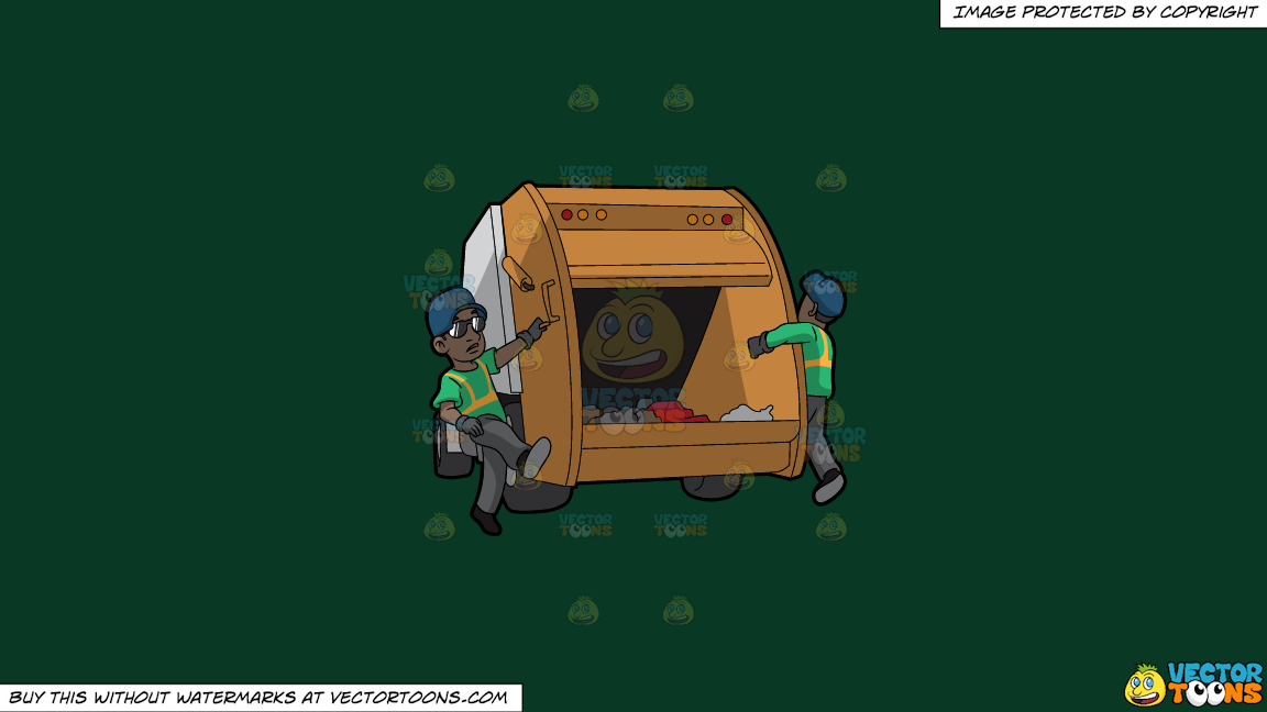 Two Black Male Sanitation Workers On The Back Of A Garbage Truck On A Solid Dark Green 093824 Background thumbnail