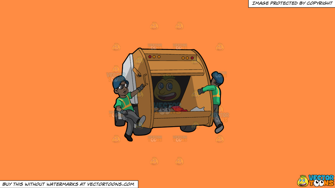 Two Black Male Sanitation Workers On The Back Of A Garbage Truck On A Solid Mango Orange Ff8c42 Background thumbnail