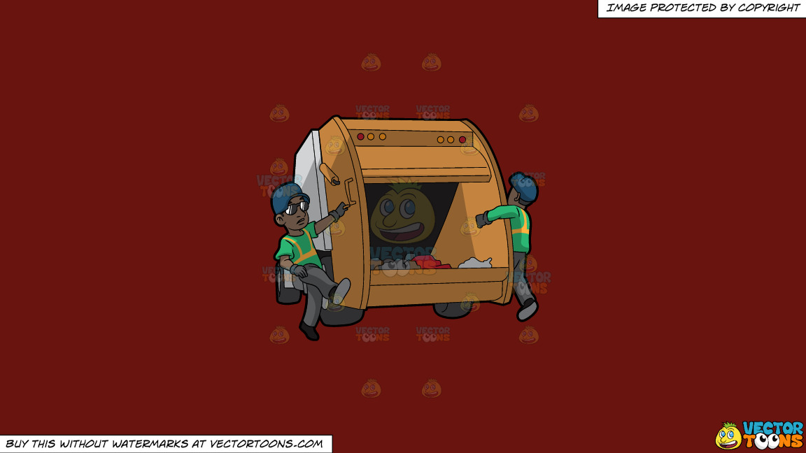 Two Black Male Sanitation Workers On The Back Of A Garbage Truck On A Solid Maroon 69140e Background thumbnail