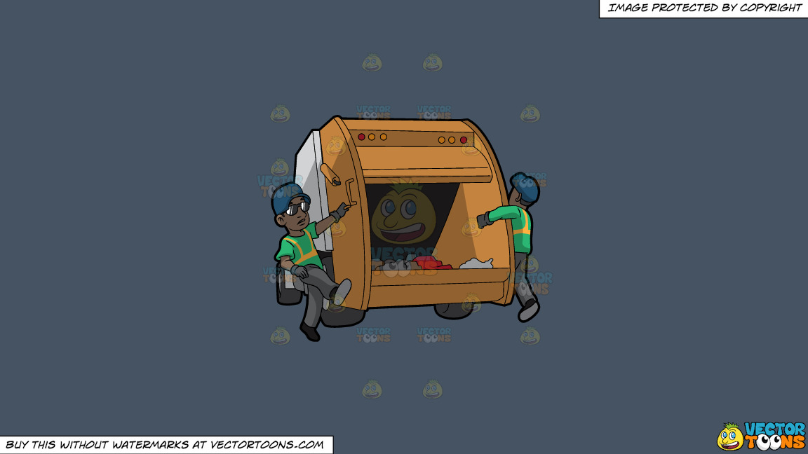 Two Black Male Sanitation Workers On The Back Of A Garbage Truck On A Solid Metal Grey 465362 Background thumbnail