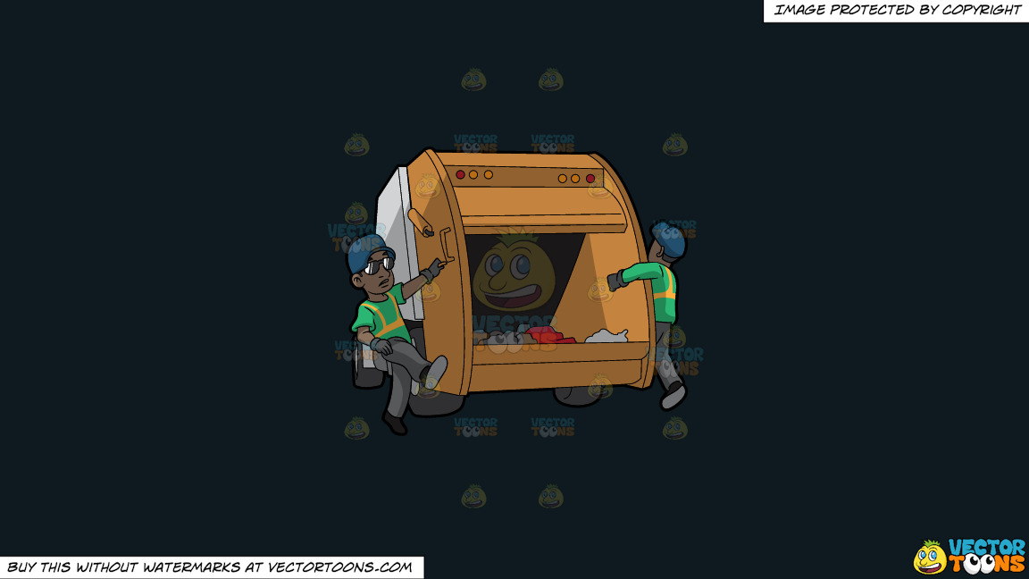 Two Black Male Sanitation Workers On The Back Of A Garbage Truck On A Solid Off Black 0f1a20 Background thumbnail