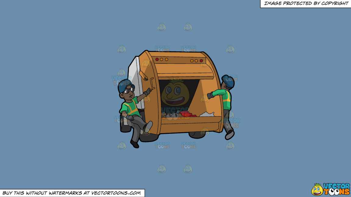 Two Black Male Sanitation Workers On The Back Of A Garbage Truck On A Solid Shadow Blue 6c8ead Background thumbnail