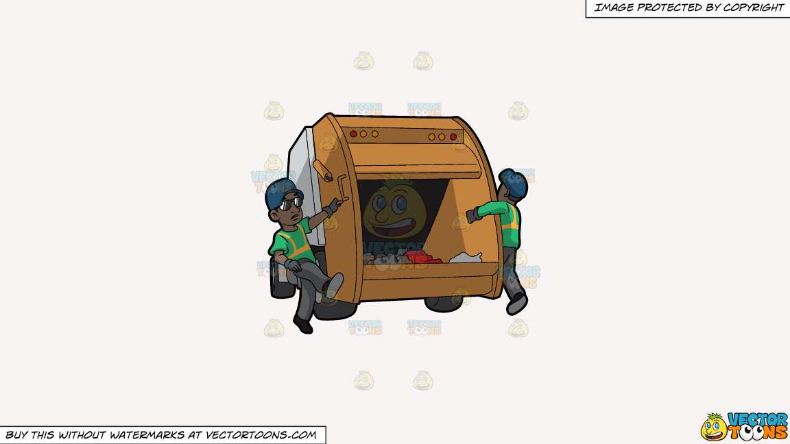 Two Black Male Sanitation Workers On The Back Of A Garbage Truck On A Solid White Smoke F7f4f3 Background thumbnail