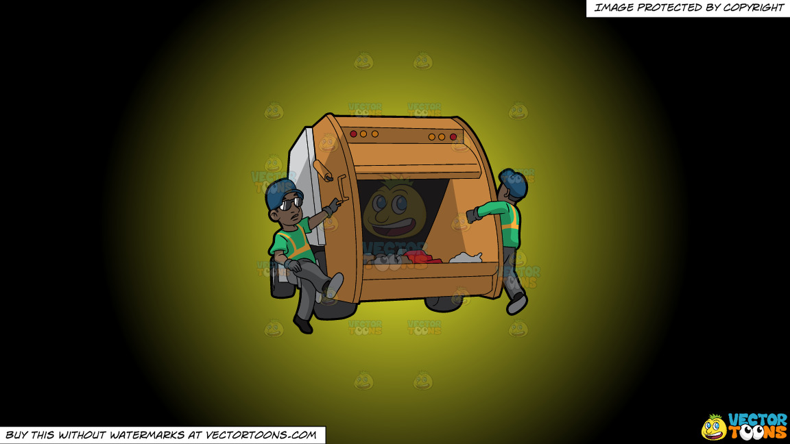 Two Black Male Sanitation Workers On The Back Of A Garbage Truck On A Yellow And Black Gradient Background thumbnail