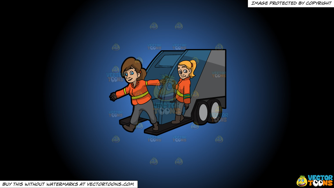 Two Female Sanitation Workers On The Back Of A Garbage Truck On A Blue And Black Gradient Background thumbnail