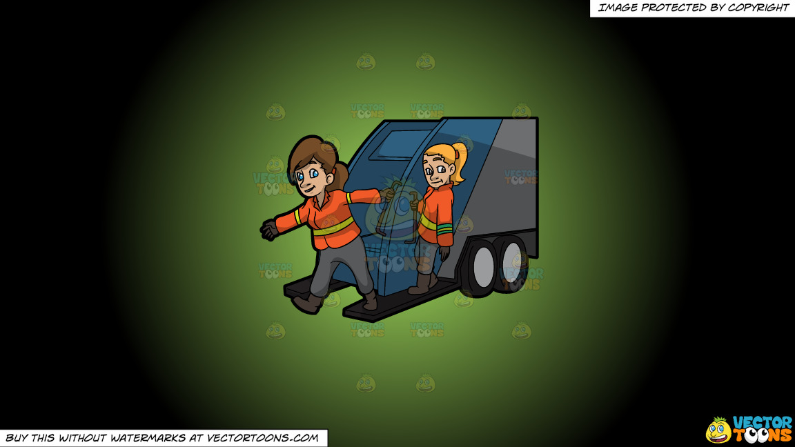 Two Female Sanitation Workers On The Back Of A Garbage Truck On A Green And Black Gradient Background thumbnail