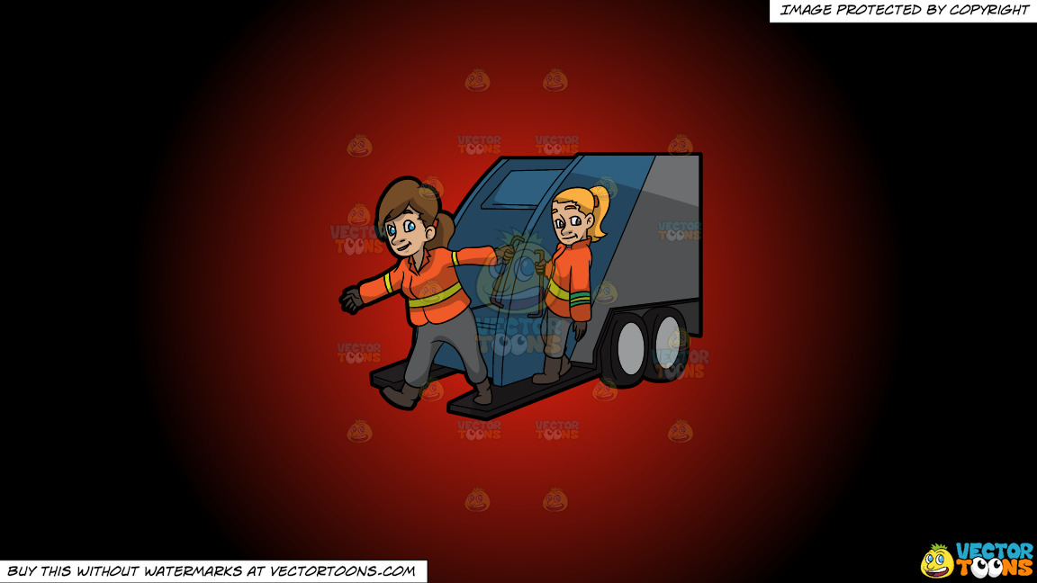 Two Female Sanitation Workers On The Back Of A Garbage Truck On A Red And Black Gradient Background thumbnail