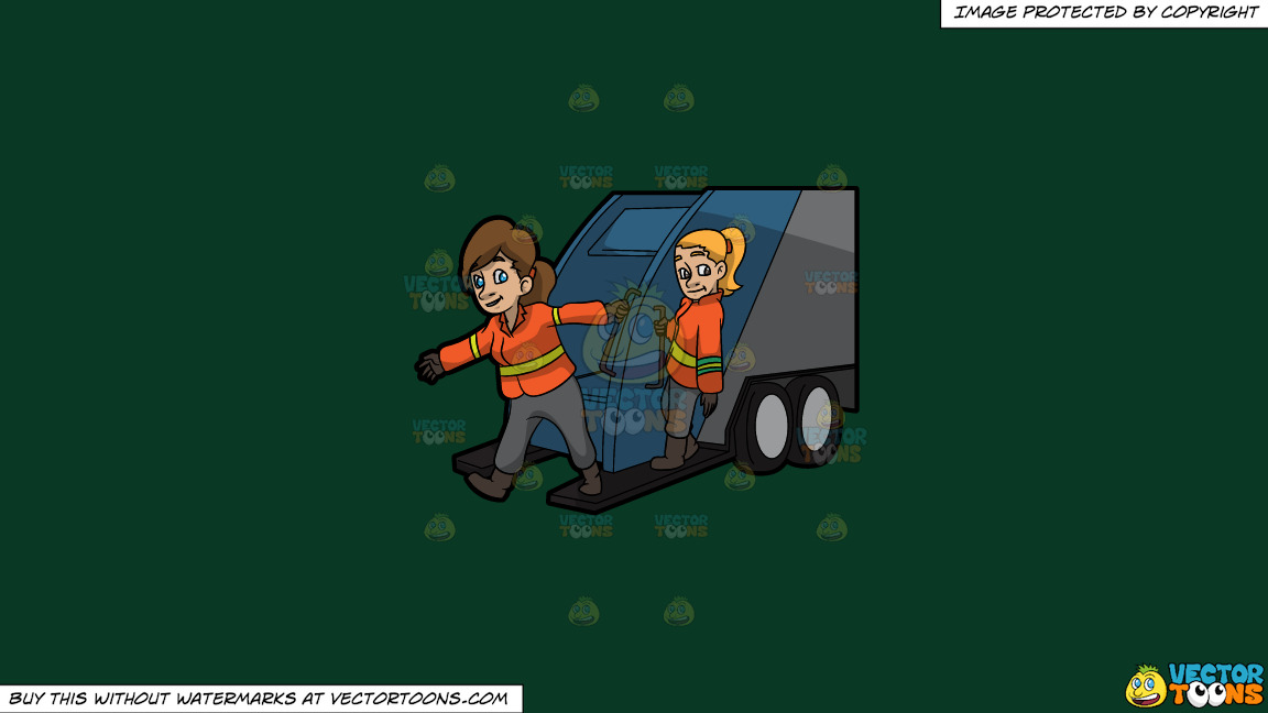 Two Female Sanitation Workers On The Back Of A Garbage Truck On A Solid Dark Green 093824 Background thumbnail