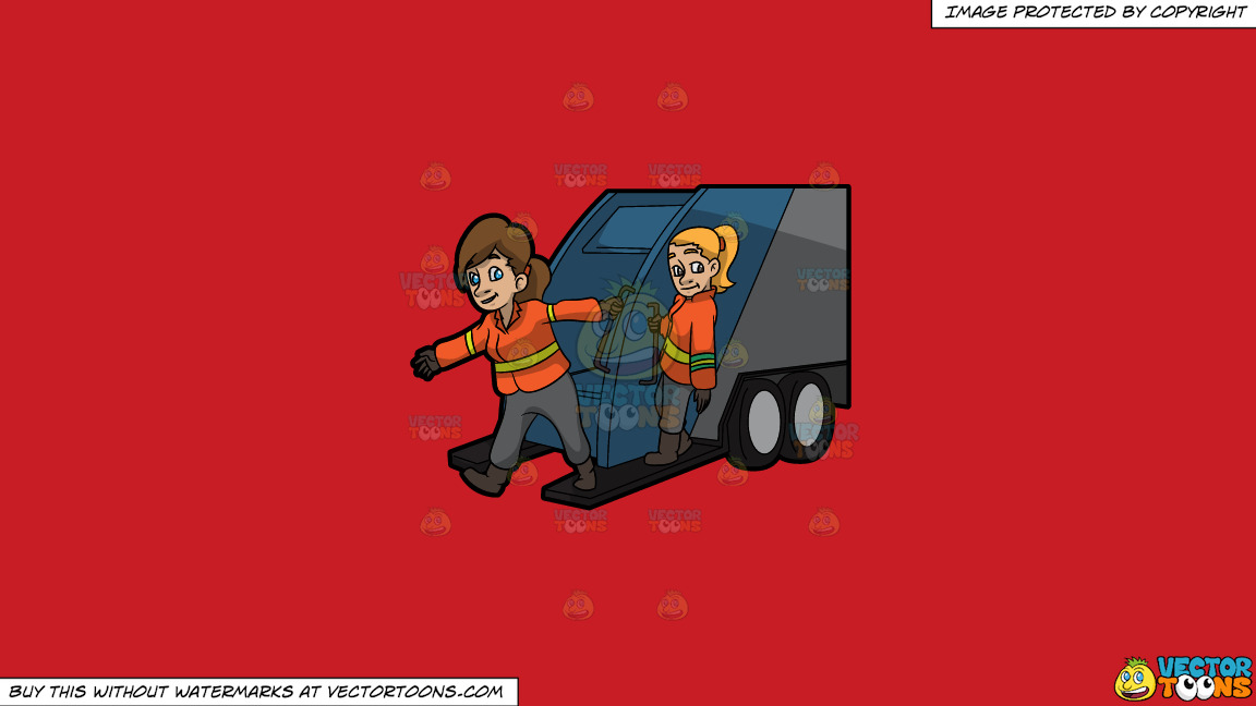 Two Female Sanitation Workers On The Back Of A Garbage Truck On A Solid Fire Engine Red C81d25 Background thumbnail