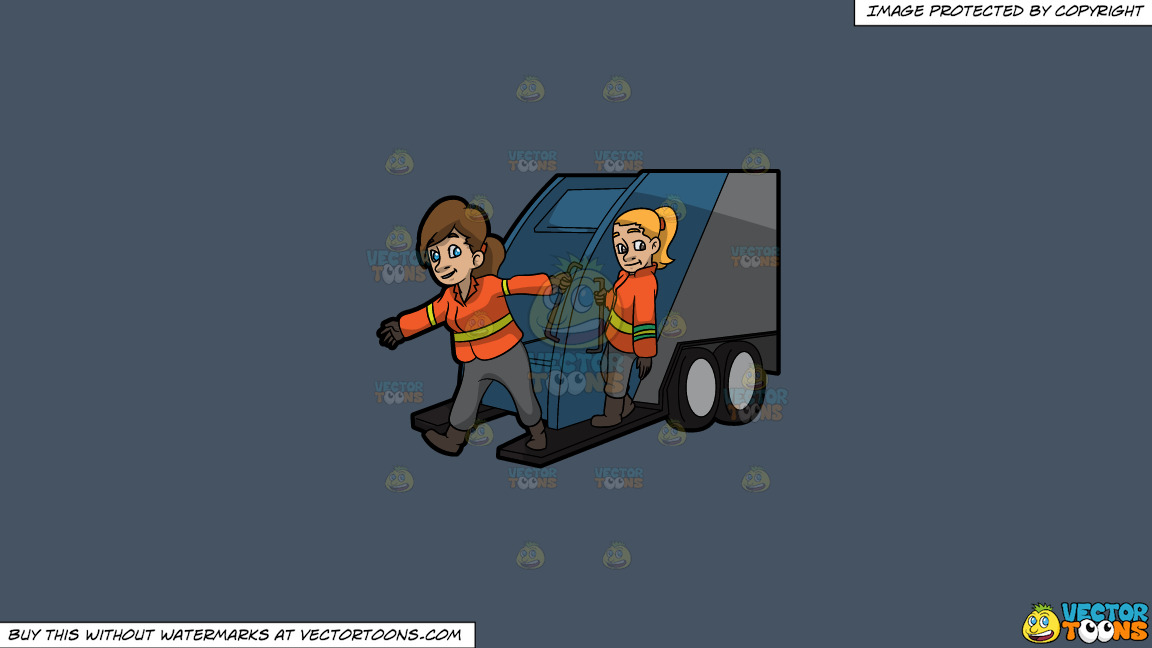 Two Female Sanitation Workers On The Back Of A Garbage Truck On A Solid Metal Grey 465362 Background thumbnail